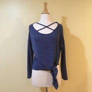Tops - Cross Front Slouchy Knit Tie Front Sweater Top